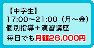 【中学生】17:00〜21:00(月~金)個別指導+演習講座 毎日でも月額28,000円